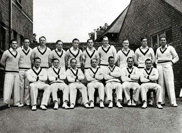 Sport. Cricket. pic: 1948. The Australia cricket team that toured England in 1948 winning 4 of the 5 Test matches and drawing the other. Back row, left-right, R.N.Harvey, D.Tallon, D.Ring, I.W.Johnson, R.R.Lindwall, R.A.Saggers, W.A.Johnson, S.E.Loxton, K