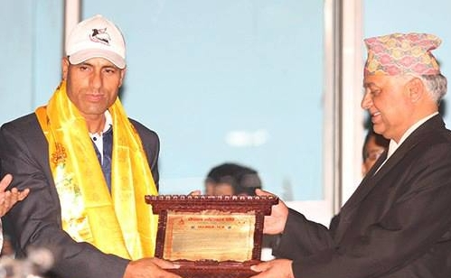 Bharat Shah former national skipper receives letter of felicitation from Madhav Prasad Ghimire Home Minister after announcing retirement from International and National Volleyball