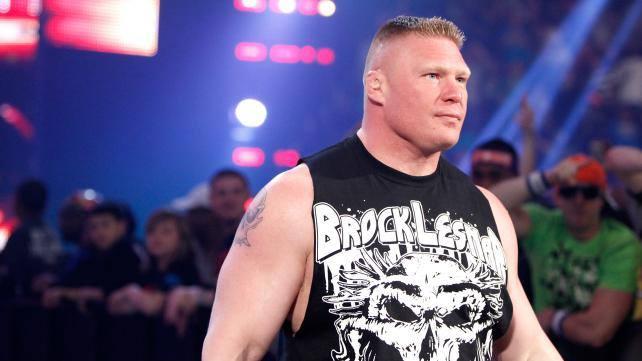 Brock Lesnar looks somewhere else