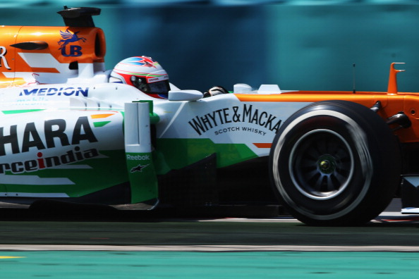 Paul di Resta of Great Britain and Force India drives during qualifying for the Hungarian Formula One Grand Prix at Hungaroring