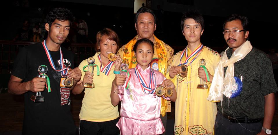 Winners with the medals in the closing ceremony of the National Wushu Championship