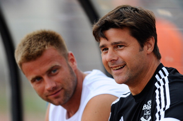 Manager Mauricio Pochettino (R) and Artur Boruc of Southampton looks on during a friendly match between Southampton FC and UE Llagostera at the Josep Pla i Arbones Stadium on July 17, 2013 in Girona, Spain.  (Getty Images)