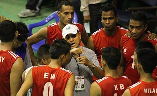 Nepal Volleyball Team talk during the match