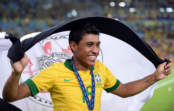 Paulinho celebrating after the Confederations Cup final
