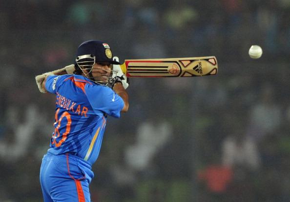Indian batsman Sachin Tendulkar plays a