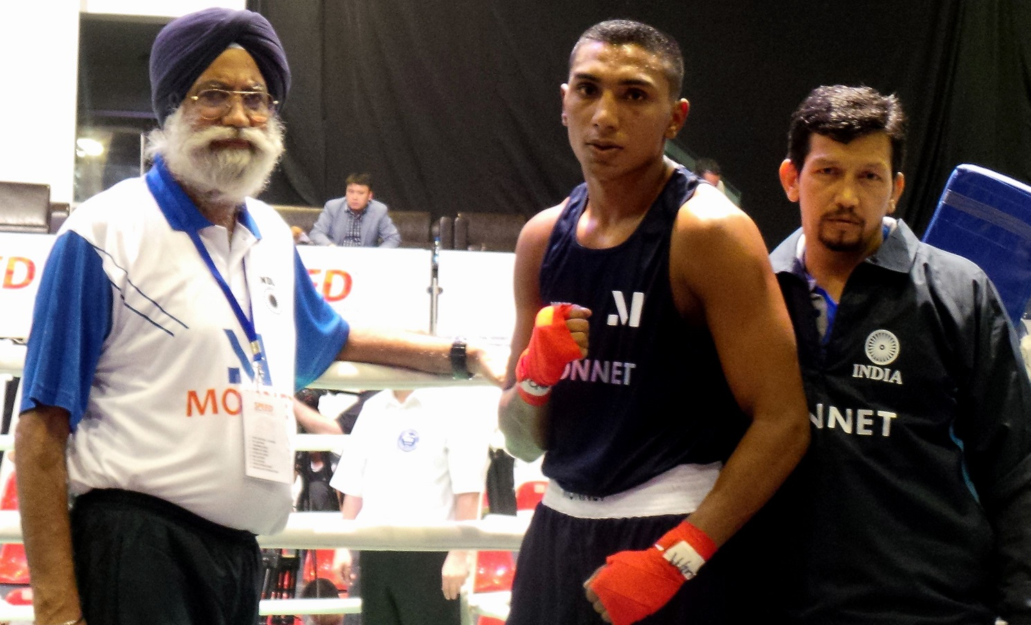 Sukhdeep Singh (75kg) in his Monnet Kit, opens with a win at the Asian Championships