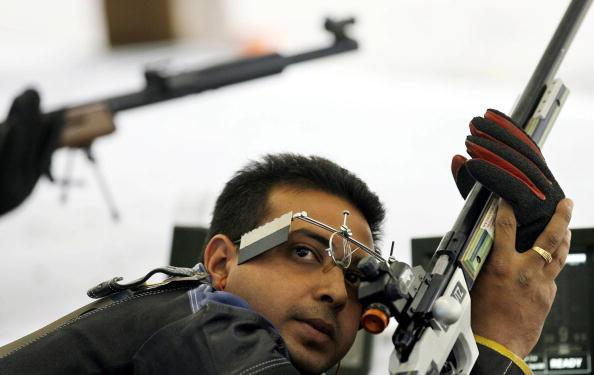 Indian shooter Joydeep Karmakar checks h