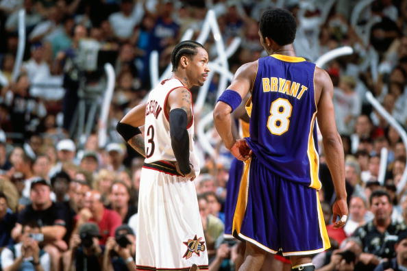 54675b4a05c Allen Iverson #3 of the Philadelphia 76ers matches up against Kobe Bryant  #8 of