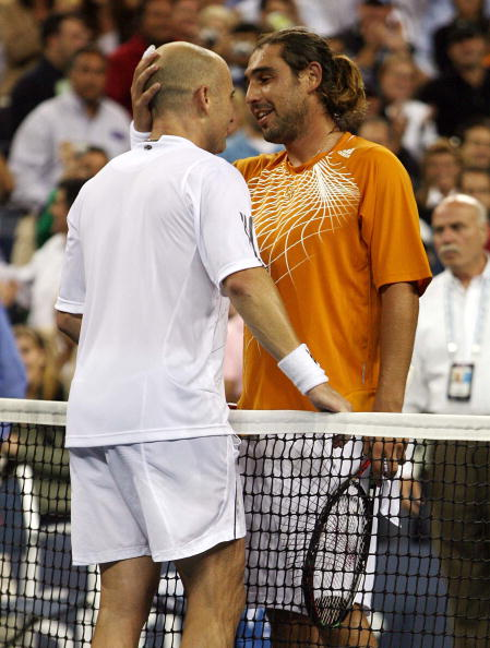 Marcos Baghdatis, right, of Cyprus congratulates Andre Agass