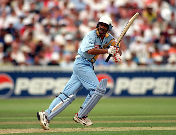 1999 Cricket World Cup. Edgbaston. 29-30th May, 1999. India beat England by 63 runs. India's Mohammed Azharuddin batting.
