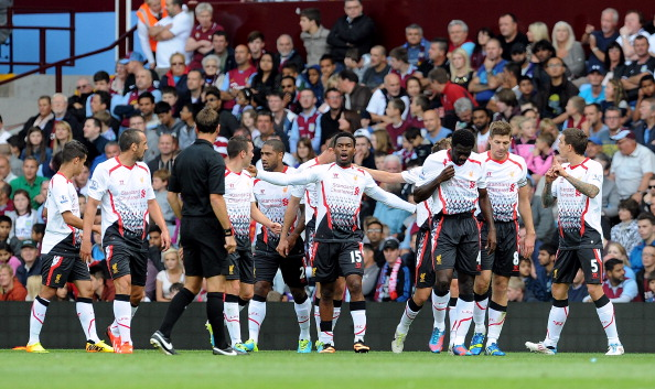 Daniel Sturridge of Liverpool celebrates after scoring the opening goal during the Barclays Premier Leauge match between Aston Villa and Liverpool at Villa Park on August 24, 2013 in Birmingham, England.  (Photo by John Powell/Liverpool FC via Getty Images)