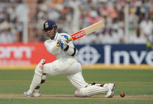 Indian cricketer Virender Sehwag plays a