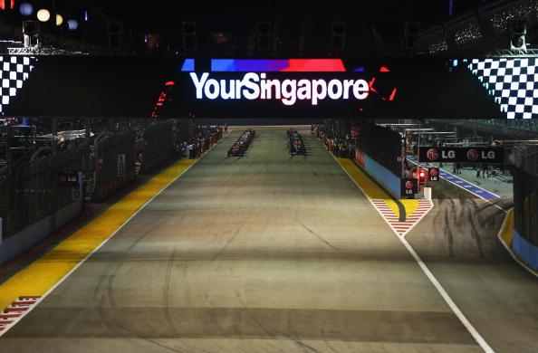 Rain has stayed away on race night at the Singapore GP