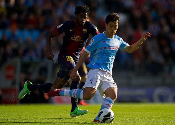 Arsenal's Park Chu-Young in action for RC Celta de Vigo against FC Barcelona