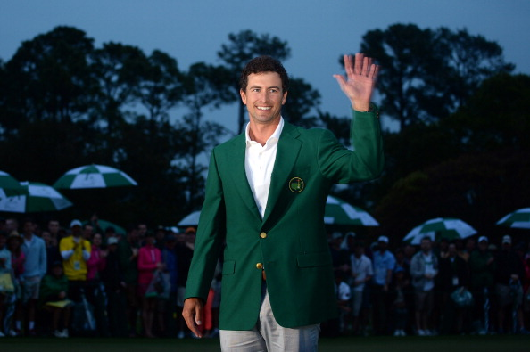 Adam Scott of Australia smiles while wearing his green jacket after winning the 2013 Masters Tournament at Augusta National Golf Club on April 14, 2013 (Getty Images)