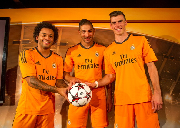f3a845aa2 Marcelo (L) Karim Benzema (C) and Gareth Bale of Real Madrid present