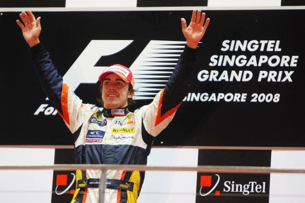 Fernando Alonso after winning the 2008 Singapore GP