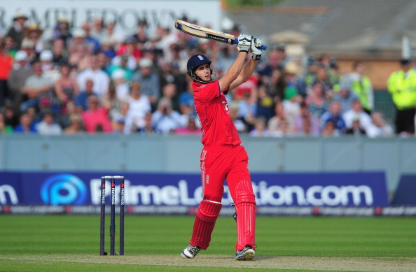 England batsman Alex Hales hits out during the 2nd NatWest series T20 match between England and Australia at Emirates Durham ICG on August 31, 2013 in Chester-le-Street, England.  (Getty Images)