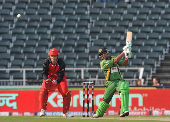Ramnaresh Sarwan bats in front of empty stands in the Champions League T20 in 2010
