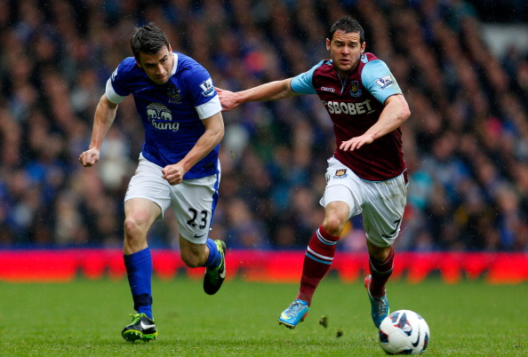 Seamus Coleman (L) of Everton in action with Matthew Jarvis of West Ham during the Barclays Premier League match between Everton and West Ham United