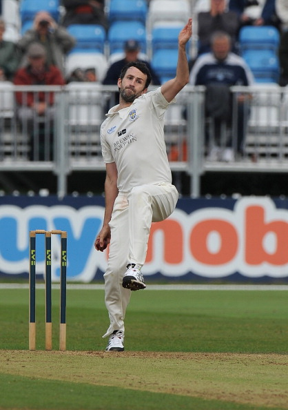 Graham Onions bowls for Durham against Derbyshire