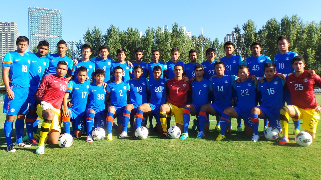 India U-19 Boys pose for a Group Photograph in China.