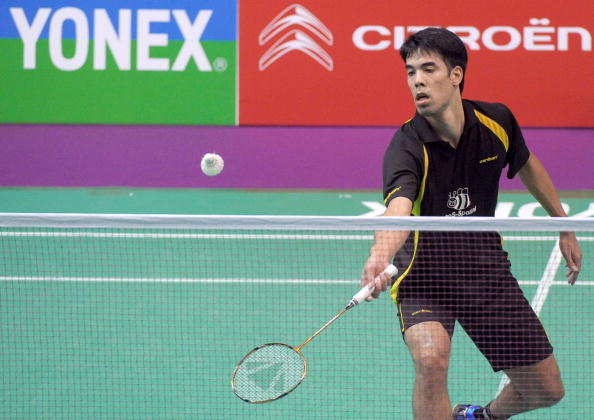 Netherlands' Eric Pang hits a return to England's Rajiv Ouseph during their Badminton World Championships first round match, on August 23, 2010 at the Coubertin Stadium in Paris. (Getty Images)