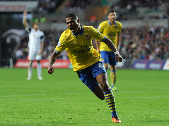 Serge Gnabry celebrates scoring his Arsenal's first goal during the Barclays Premier League match between Swansea and Arsenal at Liberty Stadium.