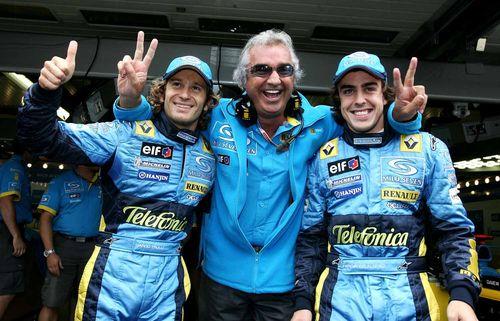 Jarno Trulli, Flavio Briatore and Fernando Alonso