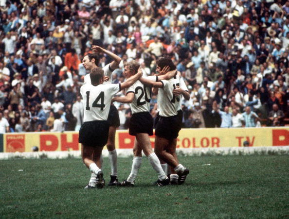 1970 World Cup Semi-Final, Mexico City, Mexico, 17th June, 1970, Italy 4 v West Germany 3, West German players mob team Grabowski after he scored a goal during the match, However celebrations were short-lived as the goal was disallowed