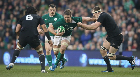DUBLIN, IRELAND - NOVEMBER 24:  Sean O'Brien of Ireland is tackled by Brodie Retallick (R) during the International match between Ireland and New Zealand All Blacks at the Aviva Stadium on November 24, 2013 in Dublin, Ireland.  (Photo by David Rogers/Getty Images)