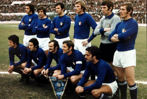 Back row, l-r, Chinaglia, Rivera, Spinosi, Morini, Zoff and Benetti, Front row, l-r, Capello, Chiarugi, Mazzola, Fachetti, Wilson, Italy were the runners-up in the 1970 World Cup in Mexico losing to Brazil in the Final