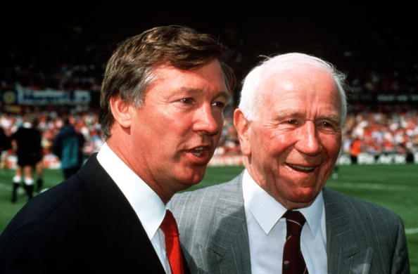 Sport, Football, Old Trafford, 1991, Legendary former Manchester United Manager Sir Matt Busby (right) meets with the current United Manager Alex Ferguson  (Photo by Bob Thomas/Getty Images)