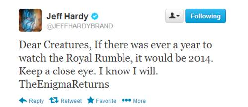 Jeff Hardy Teases his return to WWE on Twitter.