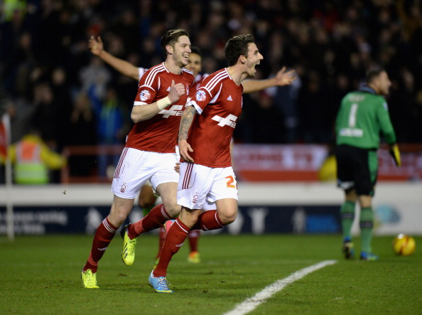 NOTTINGHAM, ENGLAND - DECEMBER 29:  Matt Derbyshire of Nottingham Forest celebrates scoring their second goal during the Sky Bet Championship match between Nottingham Forest and Leeds United at City Ground on December 29, 2013 in Nottingham, England,  (Photo by Tony Marshall/Getty Images)