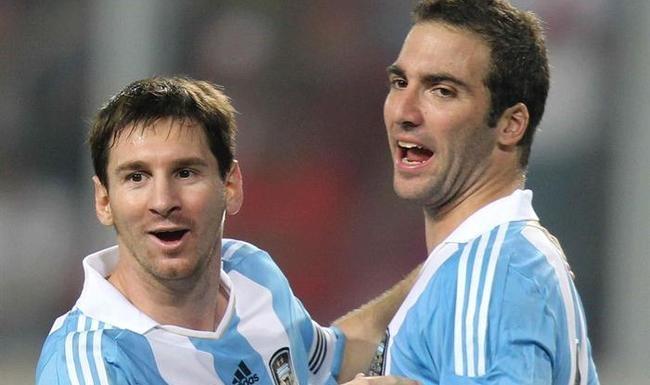 Higuain starts alongside Messi for the Argentine national team.
