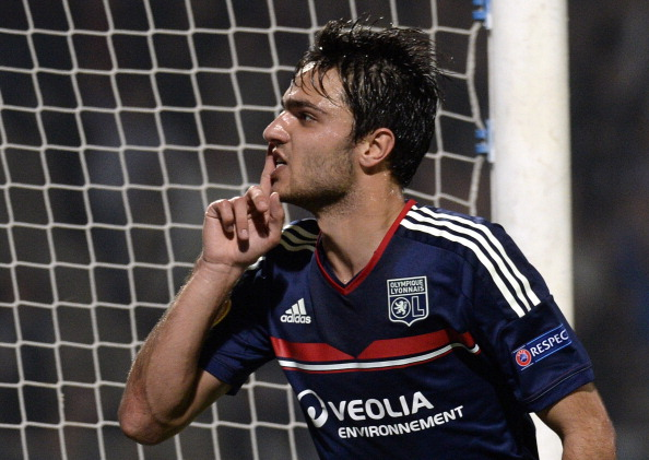 Lyon's French midfielder Clement Grenier reacts after scoring during the UEFA Europa League group I football match Olympique Lyonnais (OL) vs HNK Rijeka on October 24, 2013, at the Gerland Stadium in Lyon, central-eastern France.        AFP PHOTO/PHILIPPE DESMAZES        (Photo credit should read PHILIPPE DESMAZES/AFP/Getty Images)