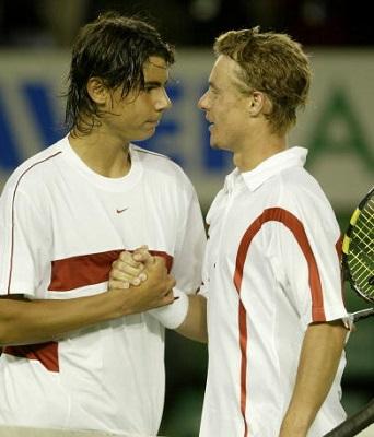 Rafael Nadal and Lleyton Hewitt at the 2004 Australian Open