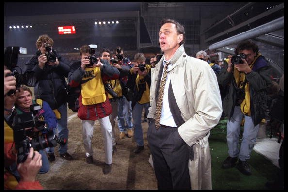 A portrait of Johan Cryuff the manager of Barcelaona before the start of the UEFA cup quarter-final against PSV.