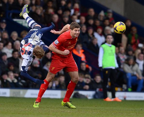 Steven Gerrard against West Brom