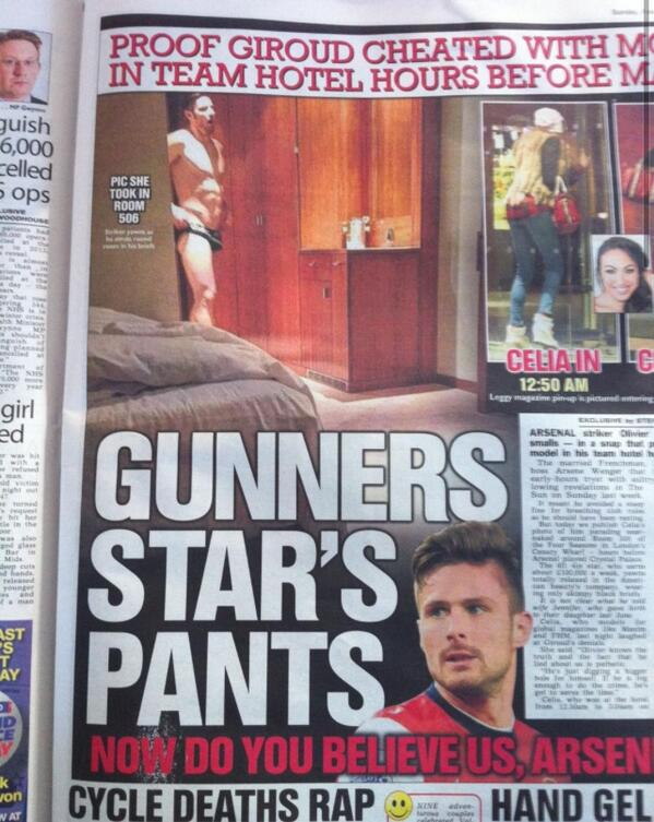 Olivier Giroud apologizes after fling with a model Arsene Wenger Affair