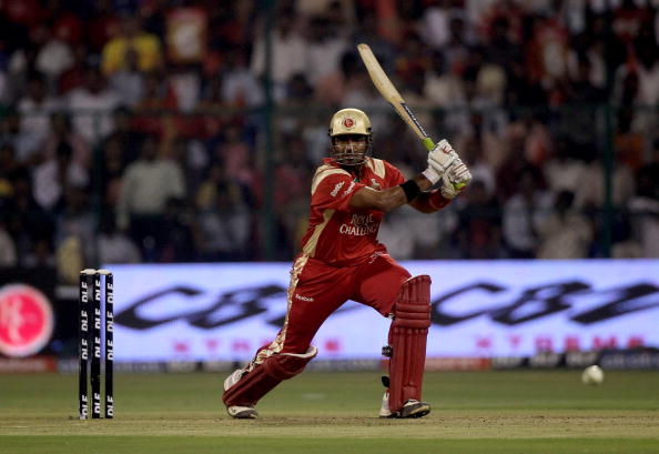 BANGALORE, INDIA - MARCH 23:  Robin Uthappa of The Challengers hits out during the 2010 DLF Indian Premier League T20 group stage match between Royal Challengers Bangalore and Chennai Super Kings played at Chinnaswamy Stadium on March 23, 2010 in Bangalore, India.  (Photo by Julian Herbert-IPL 2010/IPL via Getty Images)