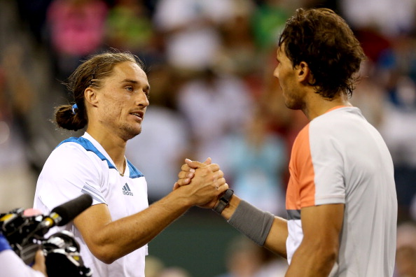 Alexandr Dolgopolov and Rafael Nadal shake hands after their match at Indian Wells