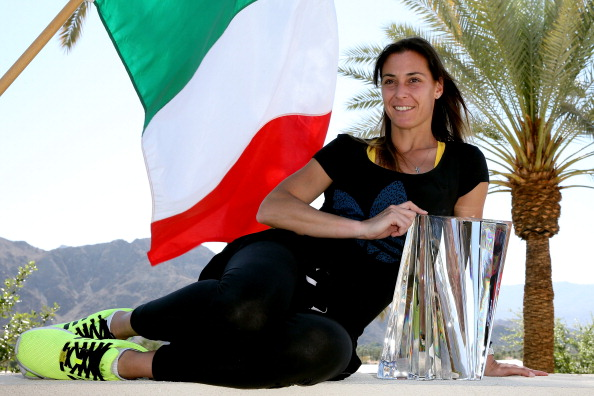 Flavia Pennetta with her Indian Wells 2014 trophy