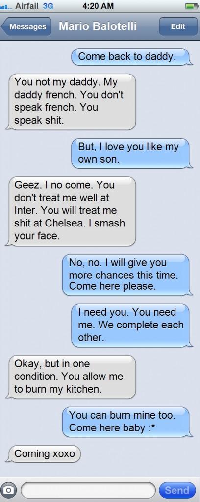 fake conversation jose mourinho signs mario balotelli through text