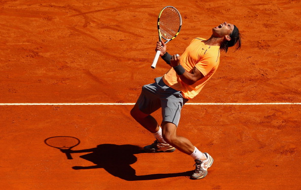 Rafael Nadal of Spain celebrates match point after his straight sets victory against Novak Djokovic of Serbia in the final  during day eight of the ATP Monte Carlo Masters, at Monte-Carlo Sporting Club on April 22, 2012 in Monte-Carlo, Monaco..