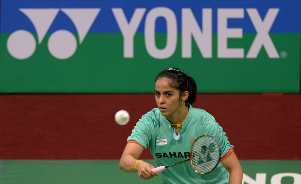 Indian badminton player Saina Nehwal returns a shot against Simone Prutsch of Austria during the Yonex-Sunrise India Open 2014 at the Siri Fort Sports Complex in New Delhi on April 2, 2014.  Nehwal won 21-7,21-9.