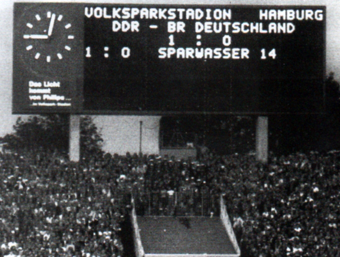 The scoreboard after East Germany won against West Germany