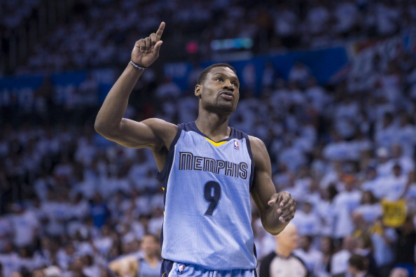 Tony Allen #9 of the Memphis Grizzlies celebrates during the game against the Oklahoma City Thunder in Game 5 of the Western Conference Quarterfinals during the 2014 NBA Playoffs at the Chesapeake Arena on April 29, 2014 in Oklahoma City, Oklahoma.