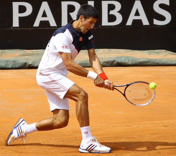 Novak Djokovic of Serbia in action against Radek Stepanek of the Czech Republic (Not seen) under Rome Masters, officially named as Internazionali BNL d'Italia, on May 13, 2014, Rome, Italy.